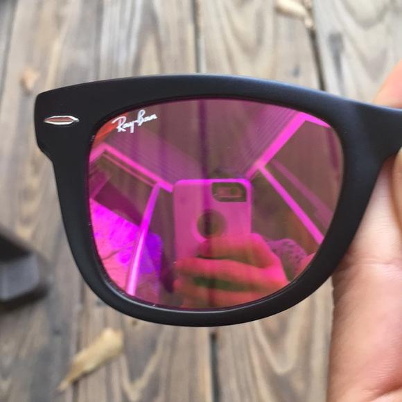 Ray Ban Accessories Ray Ban Folding Wayfarer Pink Purple Mirrored